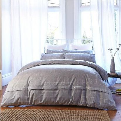 Bianca Cottonsoft Brushed Cotton Print Grey Duvet Cover Set Double