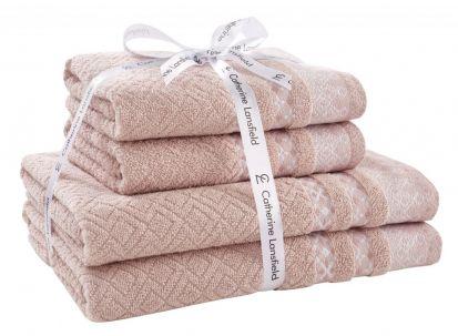 Catherine Lansfield Malawa Geo Bands Blush Towel Bale
