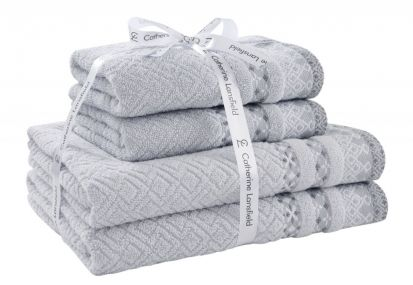 Catherine Lansfield Malawa Geo Bands Silver Towel Bale