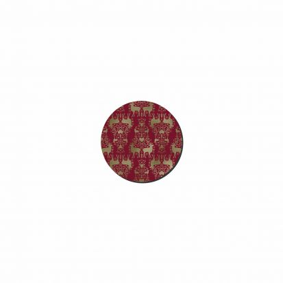 Denby Red & Gold Round Christmas Coasters Set of 6