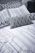 Bianca Cottonsoft Geo Duvet Cover Set Grey - Superking 4