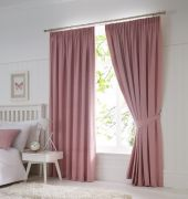 Dijon Ready-Made Blackout Pencil Pleat Curtains – Blush 66