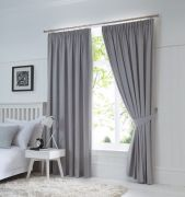 Dijon Ready-Made Blackout Pencil Pleat Curtains - Silver 66