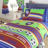 Kids Club Football Stripes Lined Curtains